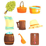 Russian Bathhouse Inventory Set. Of Flat Cool Cartoon Vector Illustrations  On White Background Royalty Free Stock Photography