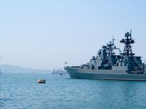 Russian battleship. Russian military battleship at port of Vladivostok city Stock Photography