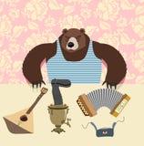 Russian bear with balalaika. Samovar. cartoon animal Royalty Free Stock Photography