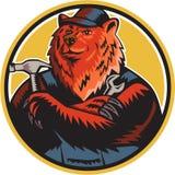 Russian Bear Builder Handyman Circle Woodcut Royalty Free Stock Photos