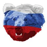 The Russian bear colored in a tricolor vector illustration