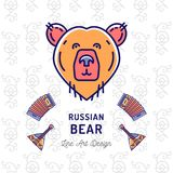 Russian Bear icon. Traveling in Russia ultra-trendy banner, thin line art icons bear, balalaika, accordion. Vector Stock Photography