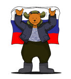 Russian bear with russian flag Royalty Free Stock Images