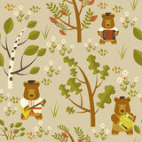 Russian bear seamless pattern Royalty Free Stock Image