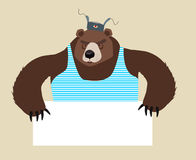 Russian Bear stuff holding blank paper Stock Photography