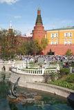 Russian Bear and wolf in Alexander Garden, Kremlin Stock Photo