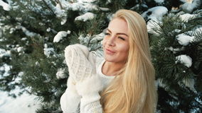 Russian beautiful woman in pine forest enjoying nature outdoors stock video