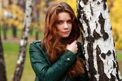 Russian beauty. Beautiful young woman in autumn park Stock Photo