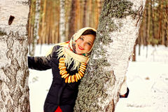 Russian beauty. Russian beauty in the forest in winter Royalty Free Stock Images