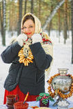 Russian beauty. Russian beauty in the forest in winter Stock Photos