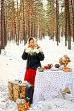 Russian beauty. Russian beauty in the forest in winter Stock Photo