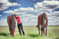 Russian beauty with a horse. Stock Photo