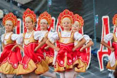 Russian beauty in Rodnichok folk groupe Royalty Free Stock Photo