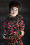 Russian beauty in traditional medieval style clothing with crossed arms Royalty Free Stock Photos