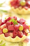 Russian beet salad in tartlets Royalty Free Stock Photo