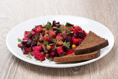 Russian beetroot  salad with bread - vinaigrette Royalty Free Stock Image