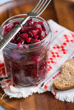Russian beetroot salad in glass jar Royalty Free Stock Photography