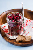 Russian beetroot salad in glass jar Stock Image