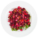 Russian beetroot salad Vinegret on plate Royalty Free Stock Image