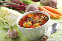 Russian beetroot soup with vegetables Royalty Free Stock Images