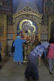 Russian believers. Women are praying in the orthodox church of sergievskij posad in russia stock images