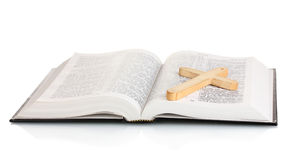 Russian bible and wooden cross Royalty Free Stock Images