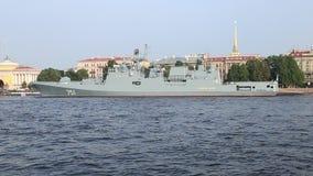 Russian big patrol ship `Admiral Essen` an Neva river stock video