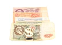 Russian bill and dollar sign. Royalty Free Stock Photo