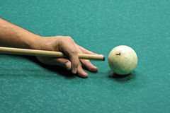 Russian billard play. Billard play, cue and ball on the green cloth Royalty Free Stock Photos