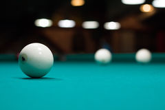 Russian billiard in club: balls on green table cloth Stock Photo