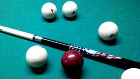 Russian billiards - balls and cue. On the table stock video footage