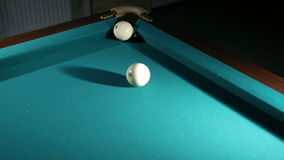 Russian billiards blow cue - successfully. Ball enters the pocket. Close-up stock video