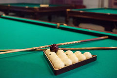 Russian billiards on green background.  stock image