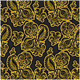 Russian black floral pattern. Russian floral pattern in gold Stock Images