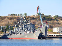Russian Black Sea Fleet ships docked in the South Bay of Sevastopol Royalty Free Stock Photos