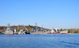 Russian Black Sea Fleet ships docked in the South Bay of Sevastopol Stock Photo