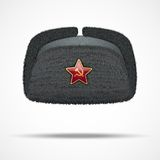Russian black winter fur hat ushanka with red star Stock Image