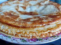 Russian blini pancakes, apple jam and condensed milk. Celebration of Maslenitsa. Maslenitsa. Is an Eastern Slavic traditional holiday. Orthodox tradition of royalty free stock photo