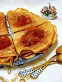 Russian blini pancakes. Celebration of Maslenitsa. Pancake week. Maslenitsa is an Eastern Slavic traditional holiday. Selective focus stock photo