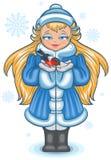 Russian Blue Snow Maiden bullfinch feeds. Illustration in vector format Stock Photos
