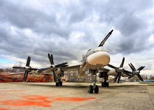 Russian bomber Tu-95 `Bear`. Russian long-range strategic bomber Tu-95 `Bear`  at the factory after renovation Stock Image