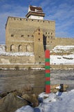 Russian border post on the background of the Hermann castle in Narva Royalty Free Stock Image