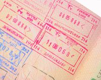 Russian border stamps Stock Photo