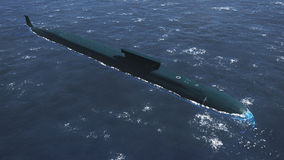 Russian Borei class submarine aerial view Stock Images