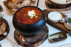 Russian borsch at pot Royalty Free Stock Photo