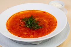 Russian borsch soup. With beef stock image