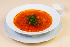Russian borsch soup. With beef stock images