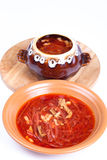 Russian borscht soup in a bowl and a pot on a light background Royalty Free Stock Photo