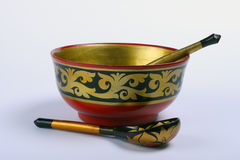 Russian bowl and spoon Royalty Free Stock Photography