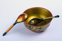 Russian bowl and spoons Royalty Free Stock Photography